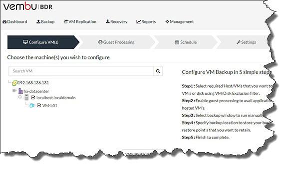 Vembu BDR Suite Web UI